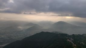 Layer of hills in the morning. Small hills during early morning hours seen from Sarangkot, Nepal stock footage