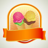 Layer Ice Cream Label. Ice cream with layered scoop in badge Stock Photo