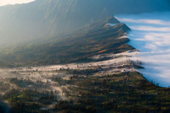 Layer of Mist Over the Mountains and in a village Royalty Free Stock Image