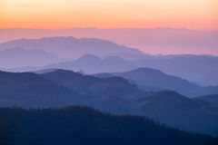 Layer mountain colorful at sunset Royalty Free Stock Image
