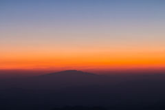 Layer of mountain. And skyline after sunset Stock Images