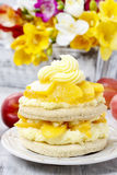 Layer peach cake Stock Images