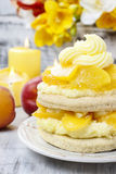 Layer peach cake Royalty Free Stock Images