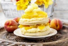 Layer peach cake Royalty Free Stock Photo