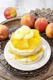 Layer peach cake Stock Photo