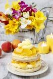 Layer peach cake Stock Image