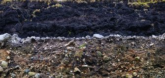 Layer of peat and layer of gravel Stock Images