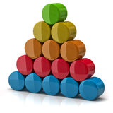Layer pyramid. Made from colorful cylinders vector illustration