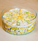 Layer salad on table. Decorated layer salad on table stock photography