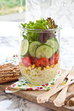 Layer salad in vintage jar Stock Photo
