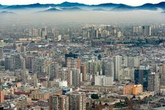 A layer of smog covers downtown Santiago stock image