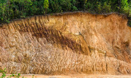Layer of soil Front loader strips all side of a hill Stock Images