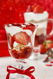 Layer strawberry and chocolate dessert. In glass goblet.  Party dish Stock Images