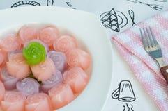 Layer Sweet Cake  and Delectable imitation fruits , Thai Nationa Stock Image