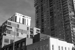 Layered Architecture in Denver. Photo of buildings in Denver in black and white with a layered look Royalty Free Stock Photos
