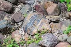 Layered Banded Rock. Laying on river bed with other rocks in Madhya Pradesh India stock photography