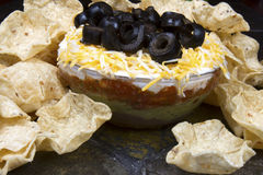 Layered Bean Dip and Corn Chips Royalty Free Stock Photo