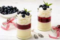 Layered blueberry dessert - panna cotta with berry jelly and blueberries. Royalty Free Stock Image