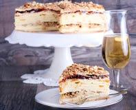 Layered cake with custard Royalty Free Stock Photos