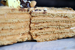 Layered cake. Oney cake with cream, sprinkle with crumbs and decorated with the bees of cream Stock Photography