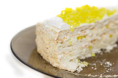 Layered cake with slices of lemon jelly closeup Stock Image