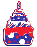 Layered Cake USA. Whimsical layered cake with candle in USA red white and blue colors Royalty Free Stock Photos