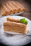 Layered caramel cake Royalty Free Stock Images