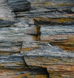 Rough Rock. Layered, colourful rock. Road Tripping in British Columbia, Canada Royalty Free Stock Image