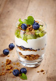 Layered cream dessert. Healthy layered dessert with cream, muesli, kiwi and blueberries on wooden background Stock Images