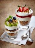 Layered cream desserts stock photography