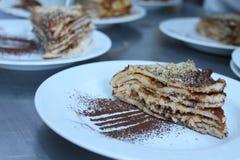 Layered crepes cake Stock Image