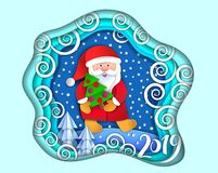 Layered cut out paper Christmas postcard Royalty Free Illustration