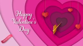 Layered 3D colorful background with hanging paper red hearts, golden arrow, pink ribbon. Valentine`s Day background. royalty free illustration
