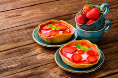 Layered dessert with fruits, cream cheese and Royalty Free Stock Photo