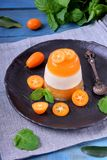 Layered dessert with fruits and yogurt on the black plate. Surrounded by kumquats and mint stock photography