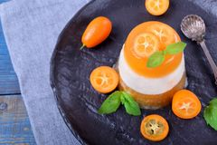 Layered dessert with fruits and yogurt on the black plate. Surrounded by kumquats and mint stock photos