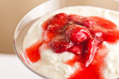 Layered dessert made from strawberries and yogurt Royalty Free Stock Images