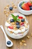 Layered Dessert With Yogurt, Granola, Fresh Berries Royalty Free Stock Photos