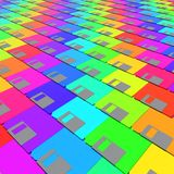 Layered Array of Colorful Floppy Disks. Layered field of vibrantly colored magnetic floppy disks. This image is a 3d rendering stock illustration