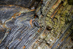 Layered and folded rock Royalty Free Stock Photo