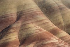 Layered geological features of Painted Hills, Oregon. Beautiful layered geological detail of the Painted Hills region of central Oregon, USA Stock Photography