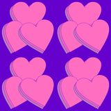 Layered hearts on purple in a seamless pattern Royalty Free Stock Image