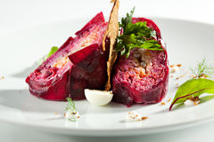 Layered Herring Salad. Traditional Russian Herring and Beet Salad with Crisp Bread Stock Photos