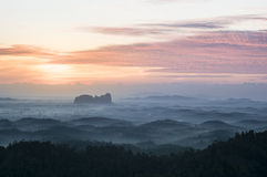 Layered Hills. Morning scape from Panorama Hill at Sungai Lembing, Kuantan. Climbed it before 4am Stock Photography