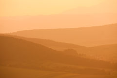 Layered hills seen from Spissky. Layered hills as seen from Spissky hrad (castle), Slovakia royalty free stock images