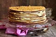 Layered honey cake with custard. Stock Photos
