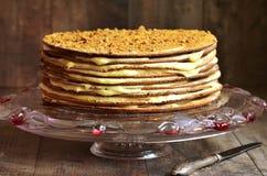 Layered honey cake with custard. Royalty Free Stock Photos
