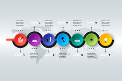 Layered Horizontal Infographic Timeline. Royalty Free Stock Photos