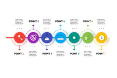 Layered Horizontal Infographic Timeline. Royalty Free Stock Images