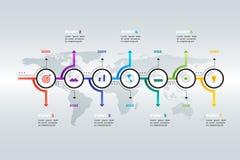 Layered Horizontal Infographic Timeline. Royalty Free Stock Image